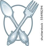 Fork and Spoon Icon Vector - stock vector