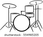 silhouette of a drum kit made... | Shutterstock .eps vector #554985205