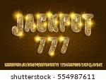 jackpot 777. golden glowing... | Shutterstock .eps vector #554987611