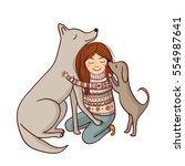 vector girl with dogs... | Shutterstock .eps vector #554987641
