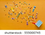 top view of birthday stuff from ...   Shutterstock . vector #555000745