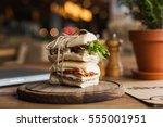 tasty and appetizing sandwich... | Shutterstock . vector #555001951