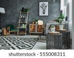 grey home interior with metal... | Shutterstock . vector #555008311