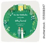 illustrated wedding invitation... | Shutterstock .eps vector #555008347