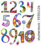 child draw 1  2  3  4  5  6  7  ... | Shutterstock . vector #55501126