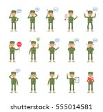 big set of military man... | Shutterstock .eps vector #555014581