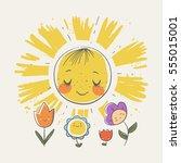 cute sun and flowers cartoon... | Shutterstock .eps vector #555015001