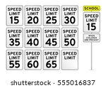 Speed Limit Road Sign Set