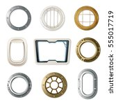 set of realistic portholes of... | Shutterstock .eps vector #555017719