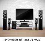 home theater realistic interior ... | Shutterstock .eps vector #555017929