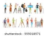 volunteering people flat... | Shutterstock .eps vector #555018571