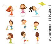 playing kids cartoon set with... | Shutterstock .eps vector #555018649