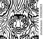 optical illusion animal print.... | Shutterstock .eps vector #555023815