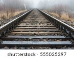 Empty Railroad Track Going Int...