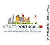 visa to portugal. document for... | Shutterstock .eps vector #555029419