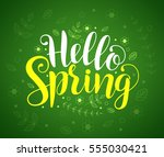 hello spring text typography... | Shutterstock .eps vector #555030421