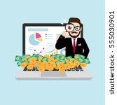 hipster businessman looking... | Shutterstock .eps vector #555030901