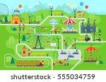 amusement park map infographic... | Shutterstock .eps vector #555034759