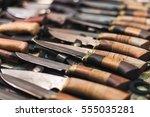 handmade knife with wooden...   Shutterstock . vector #555035281