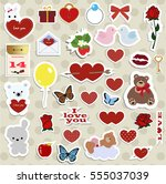 set of stickers  badges and... | Shutterstock .eps vector #555037039