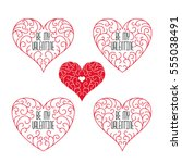 be my valentine badges. frames... | Shutterstock .eps vector #555038491