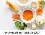 cooking vegetable puree for... | Shutterstock . vector #555051214