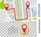 map with navigation. vector... | Shutterstock .eps vector #555051349