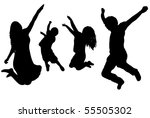 black silhouette of a jumping... | Shutterstock .eps vector #55505302