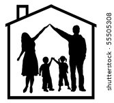 family in dream house | Shutterstock .eps vector #55505308