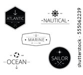 set of nautical logos  badges... | Shutterstock .eps vector #555062239