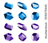 mineral crystal stone blue... | Shutterstock .eps vector #555075445