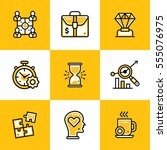 vector collection of line icons ... | Shutterstock .eps vector #555076975