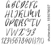 hand drawn font made by dry... | Shutterstock .eps vector #555078037