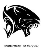 black panther profile head  ... | Shutterstock .eps vector #555079957