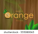 orange poster with image citrus ... | Shutterstock .eps vector #555080065