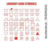 laundry care symbols set. wash  ... | Shutterstock .eps vector #555090241