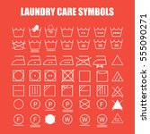 laundry care symbols set. wash  ... | Shutterstock .eps vector #555090271