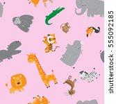 cute zoo animals seamless... | Shutterstock .eps vector #555092185