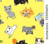 cute kitten pose seamless... | Shutterstock .eps vector #555096691