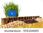 somalia flag waving with stack... | Shutterstock . vector #555104005