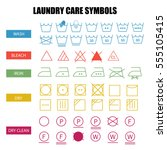 laundry care symbols set. wash  ... | Shutterstock .eps vector #555105415