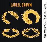 laurel crown set. greek wreath...   Shutterstock .eps vector #555107734