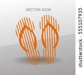flip flops icon vector... | Shutterstock .eps vector #555107935