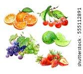 set of watercolor fruits orange ...   Shutterstock . vector #555112891