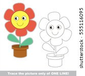 red pot funny flower to be... | Shutterstock .eps vector #555116095