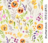 seamless watercolor floral...   Shutterstock . vector #555118921