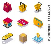 isometric shopping icon set | Shutterstock .eps vector #555127105