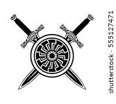 sword shield tattoo  viking set....   Shutterstock .eps vector #555127471
