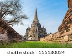 the beautiful chedi with a blue ... | Shutterstock . vector #555130024