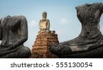 ancient buddha at... | Shutterstock . vector #555130054
